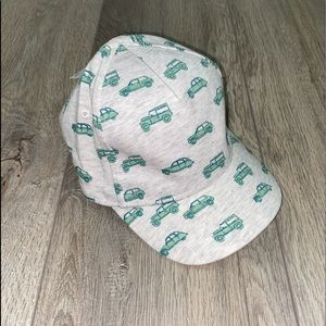 H&M Baby Boys Baseball Hat Cars Grey Mint Green